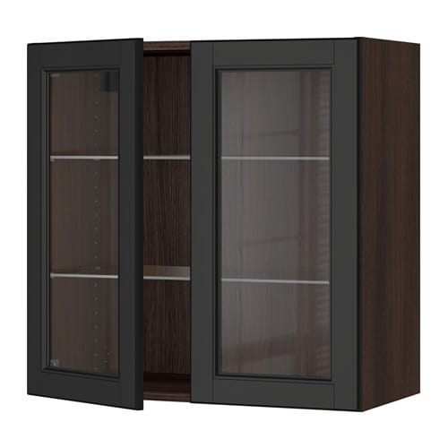 Sektion wall cabinet with 2 glass doors wood effect for Black kitchen cabinets with glass doors