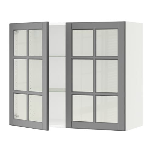 Sektion wall cabinet with 2 glass doors white bodbyn for Off the shelf kitchen units