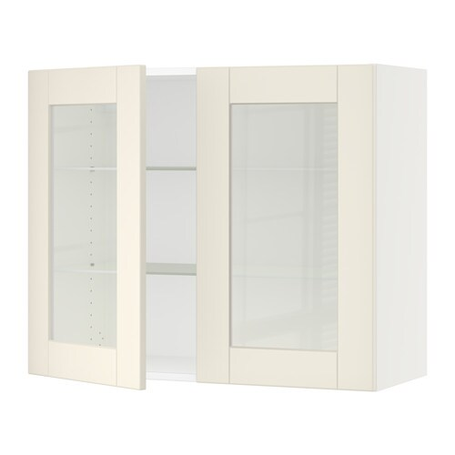 Sektion Wall Cabinet With 2 Glass Doors Grimslv Off White