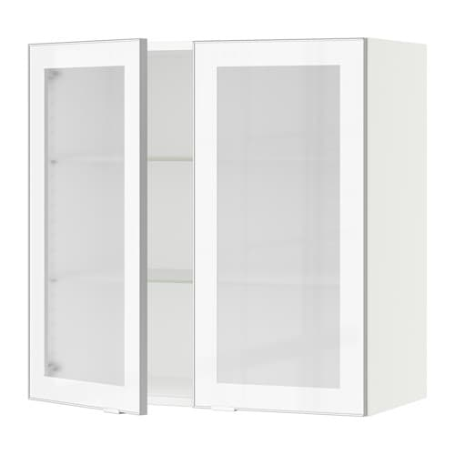 Sektion wall cabinet with 2 glass doors white jutis Glass cabinet doors