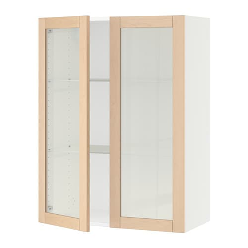Sektion wall cabinet with 2 glass doors white bj rket for Ikea glass door wall cabinet