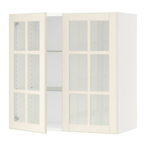 SEKTION Wall cabinet with 2 glass doors - Bodbyn off-white ...