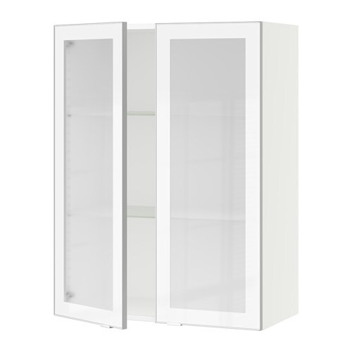 Sektion Wall Cabinet With 2 Glass Doors Jutis Frosted Glass