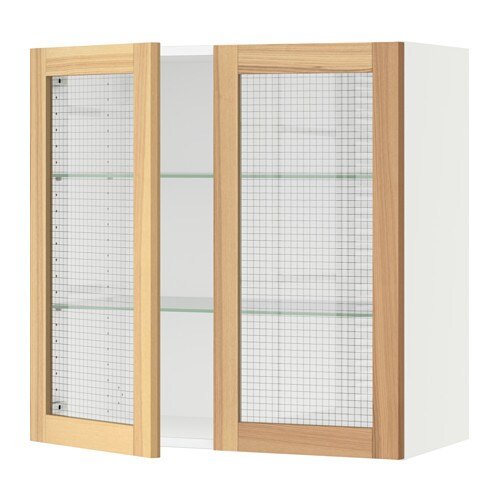 Sektion Wall Cabinet With 2 Glass Doors White Torhamn