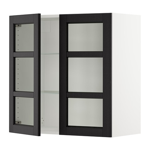 Sektion Wall Cabinet With 2 Glass Doors Lerh Black Stained