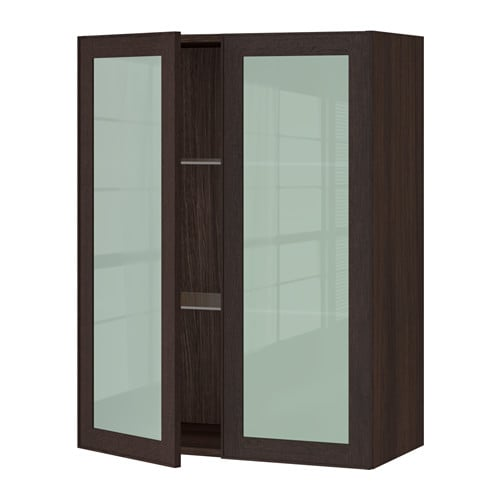 Sektion wall cabinet with 2 glass doors wood effect for Ikea glass door wall cabinet