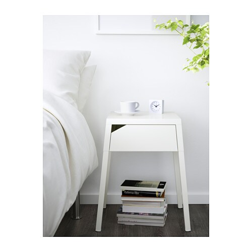 SELJE Nightstand IKEA In the drawer there is room for an power strip for your chargers.