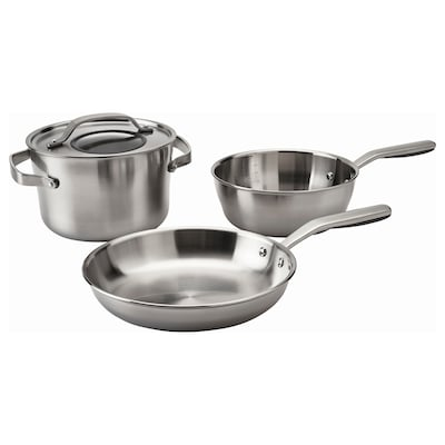 SENSUELL 4-piece cookware set stainless steel/gray