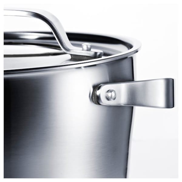 SENSUELL Pot with lid, stainless steel/gray, 5.8 qt
