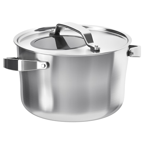 "SENSUELL pot with lid stainless steel/gray 6 "" 9 "" 5.8 qt"
