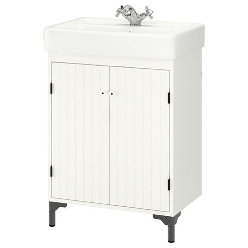 """SILVERÅN / HAMNVIKEN sink cabinet with 2 doors white/Runskär faucet 24 3/4 """" 23 5/8 """" 17 3/4 """" 35 5/8 """""""