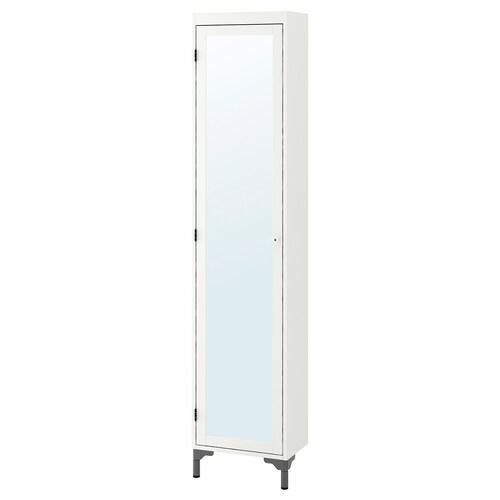 "SILVERÅN high cabinet with mirror door white 15 3/4 "" 9 7/8 "" 72 1/4 """