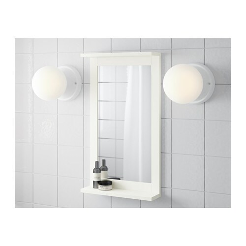 SILVERÅN Mirror with shelf IKEA Can be used as a shelf for a soap dish and tumbler, thanks to the depth of the frame.