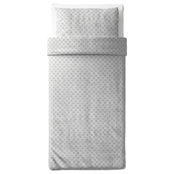 SILVERFRYLE Duvet cover and pillowcase(s), white/gray, Twin