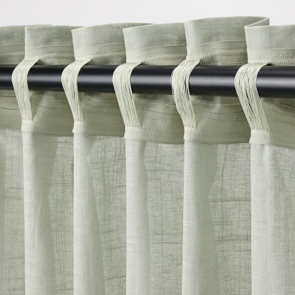 "SILVERLÖNN Sheer curtains, 1 pair, light green, 57x98 """