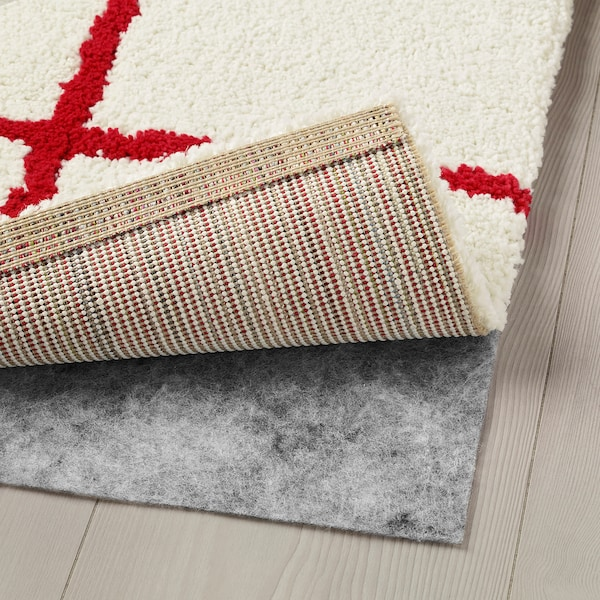 "SIMESTED Rug, high pile, white/red, 6 ' 7 ""x6 ' 7 """