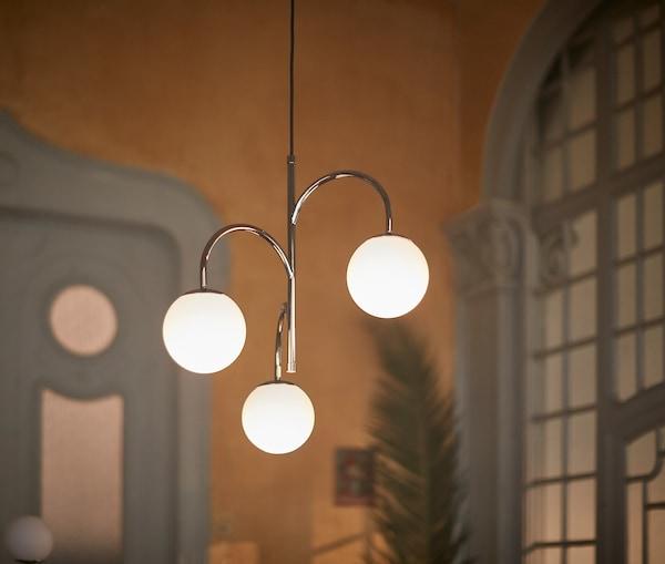 SIMRISHAMN Pendant lamp, 3-armed, chrome plated/opal glass