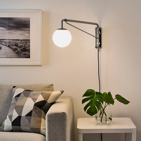 SIMRISHAMN Wall lamp with swing arm + LED bulb, chrome plated/opal glass