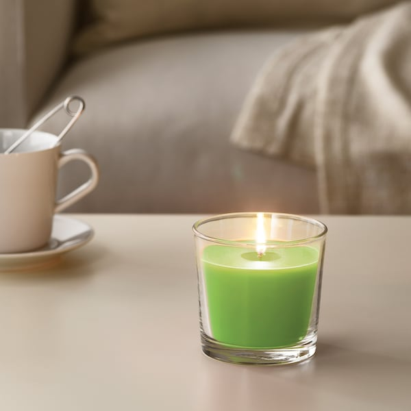 """SINNLIG Scented candle in glass, Apple and pear/green, 3 ½ """""""