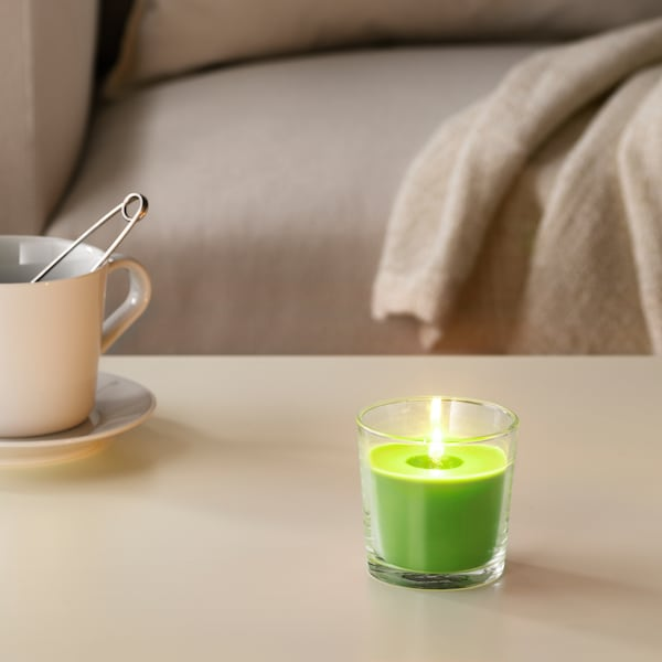 """SINNLIG Scented candle in glass, Apple and pear/green, 3 """""""