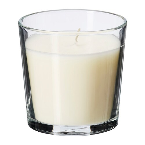 SINNLIG Scented candle in glass IKEA Creates atmosphere with a pleasant scent of vanilla pleasure and warm candlelight.