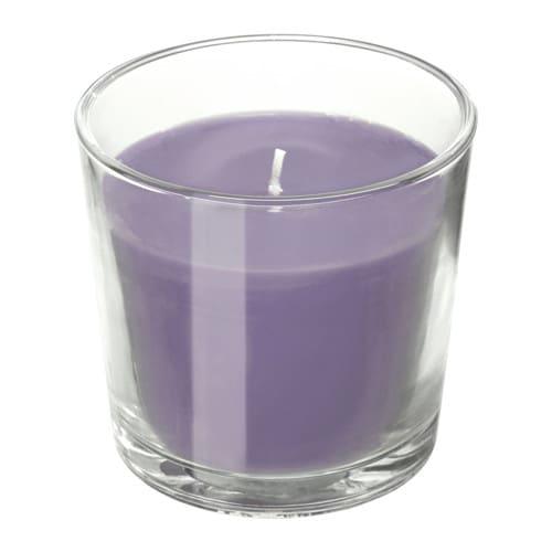 SINNLIG Vela perfumada en cristal, Blackberry, lila