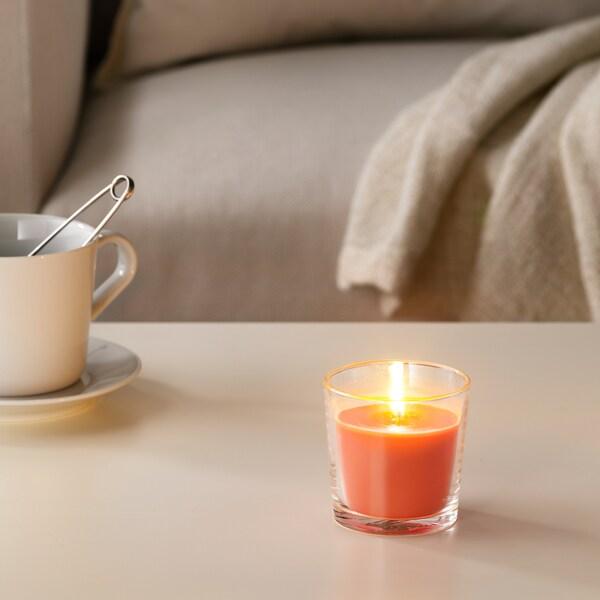 "SINNLIG Scented candle in glass, Peach and orange/orange, 3 """