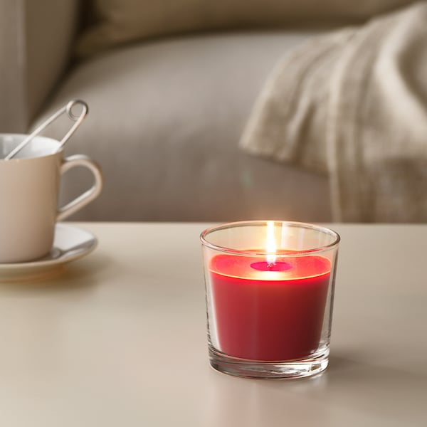 """SINNLIG Scented candle in glass, Red garden berries/red, 3 ½ """""""