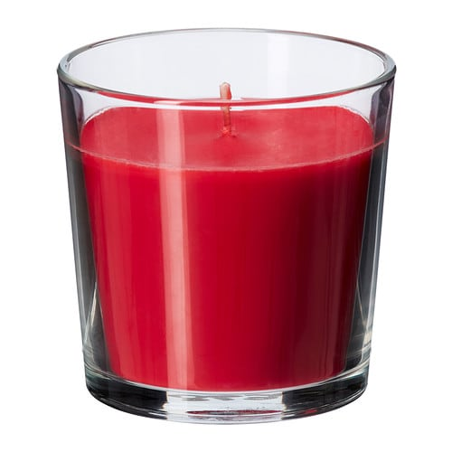 SINNLIG Scented candle in glass IKEA Creates atmosphere with a pleasant scent of sweet berries and warm candlelight.