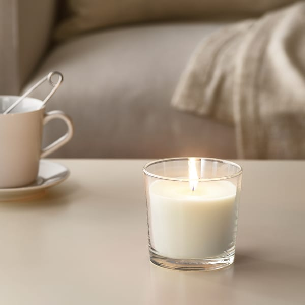 """SINNLIG Scented candle in glass, Sweet vanilla/natural, 3 ½ """""""