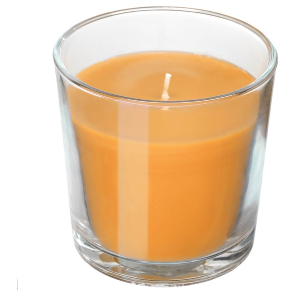 """SINNLIG Scented candle in glass, Tropical pineapple/yellow, 3 """""""