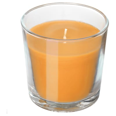 "SINNLIG scented candle in glass Tropical pineapple/yellow 3 "" 25 hr"