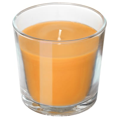 "SINNLIG scented candle in glass Tropical pineapple/yellow 3 ½ "" 40 hr"