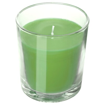 """SINNLIG scented candle in glass Apple and pear/green 4 ¼ """" 55 hr"""