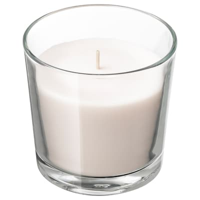 "SINNLIG scented candle in glass Sweet vanilla/natural 3 ½ "" 40 hr"