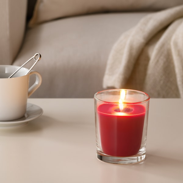 "SINNLIG scented candle in glass Red garden berries/red 4 ¼ "" 55 hr"