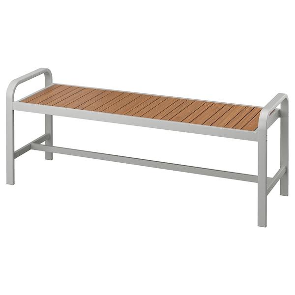 """SJÄLLAND Bench, outdoor, light gray/light brown, 53 1/2 """""""