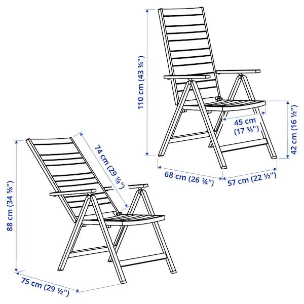 SJÄLLAND Reclining chair, outdoor, light gray foldable/dark gray