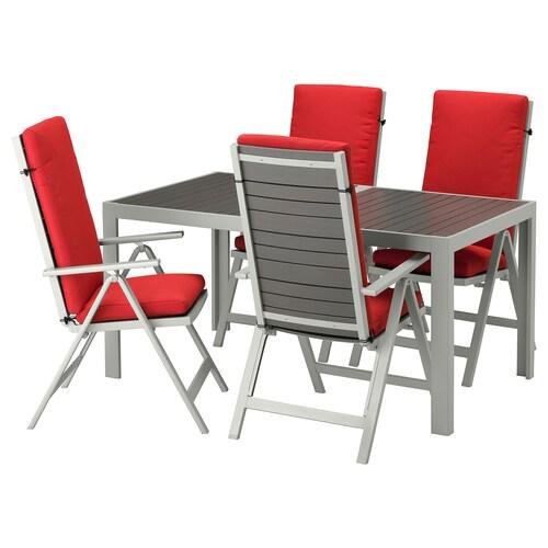 """SJÄLLAND table + 4 reclining chairs, outdoor dark gray/Frösön/Duvholmen red 61 3/8 """" 35 3/8 """" 28 3/4 """""""