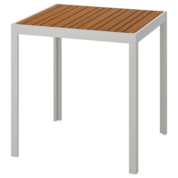 "SJÄLLAND Table, outdoor, light brown/light gray, 28x28x28 3/4 """