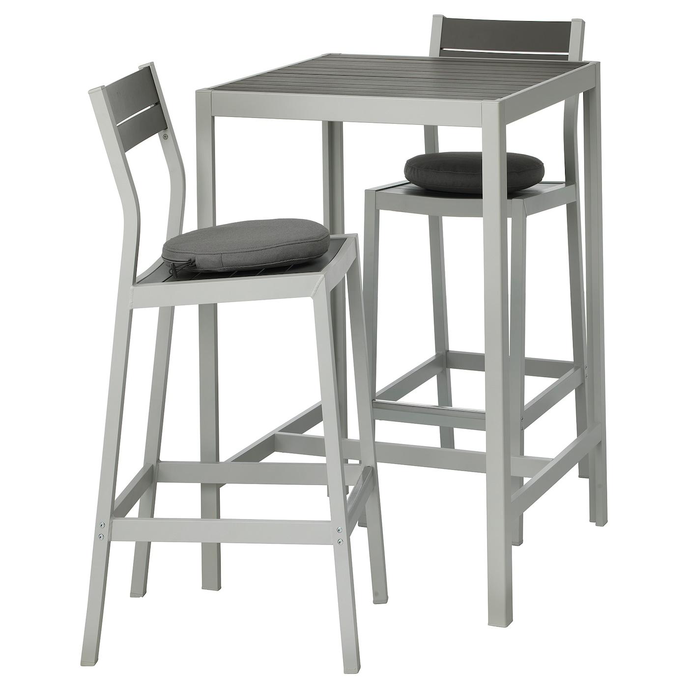 Incroyable SJÄLLAND Bar Table And 2 Bar Stools, Outdoor, Dark Gray, Frösön/Duvholmen  Beige