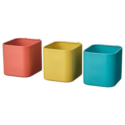 """SKÅDIS container assorted colors 3 """" 3 ½ """" 3 ¼ """" 3 pack"""