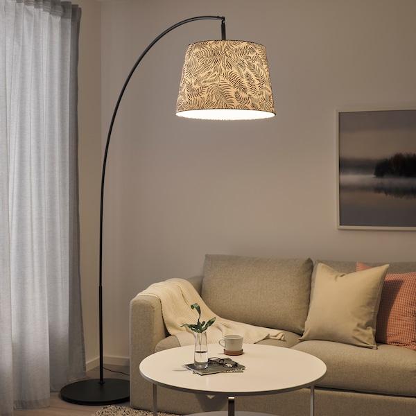 SKAFTET Floor lamp base w light blb, arched, black