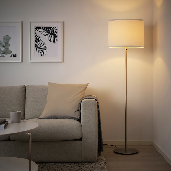 SKAFTET Floor lamp base with LED bulb, nickel plated