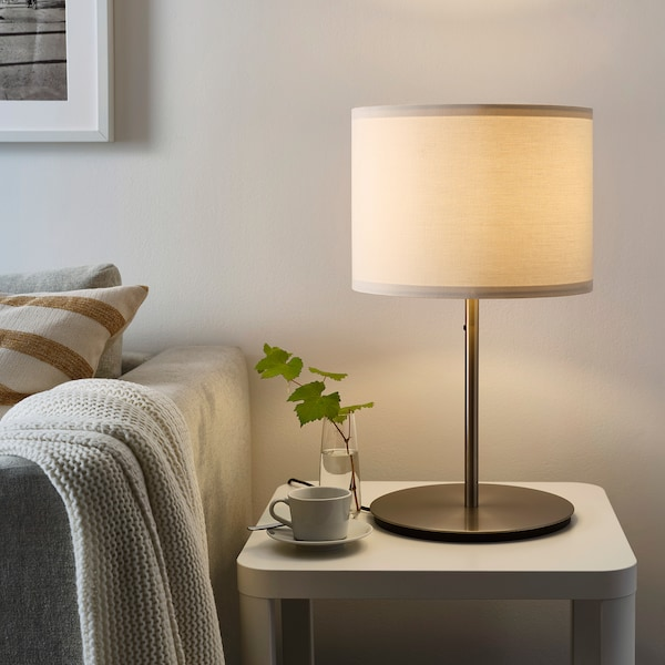 """SKAFTET Table lamp base with LED bulb, nickel plated, 15 """""""