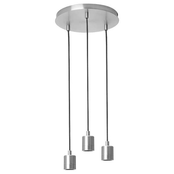 SKAFTET Triple cord set with ceiling mount, round nickel plated