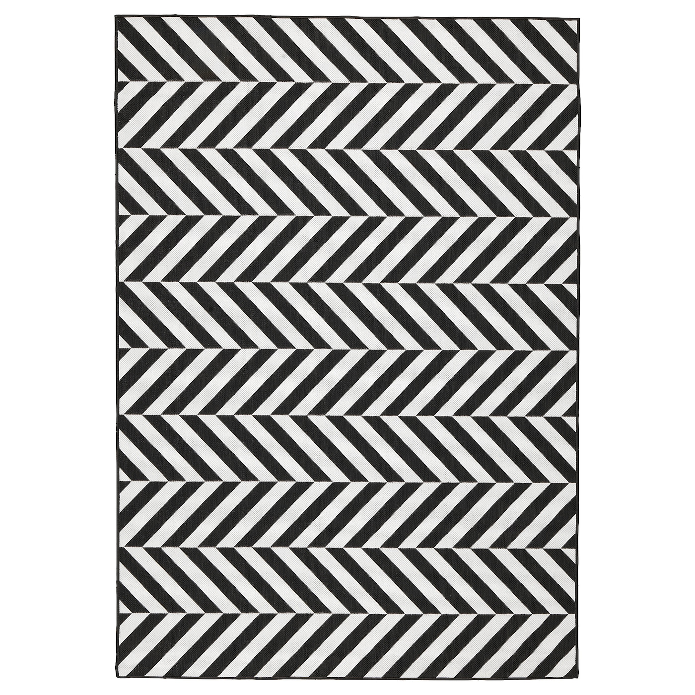Rug Flatwoven In Outdoor White Black