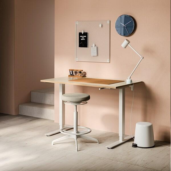 "SKARSTA desk sit/stand beige/white 47 1/4 "" 27 1/2 "" 27 1/2 "" 47 1/4 "" 110 lb"