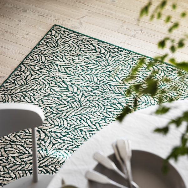 "SKELUND Rug flatwoven, in/outdoor, green-beige, 6 ' 7 ""x8 ' 2 """