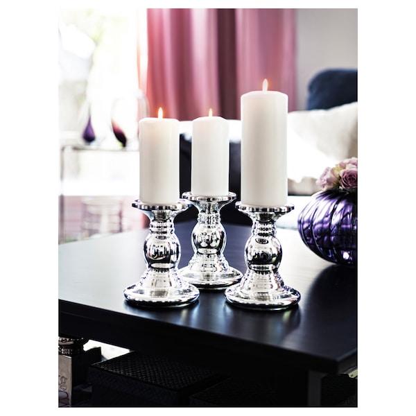 "SKIMMER Block candle holder, glass/silver color, 7 """
